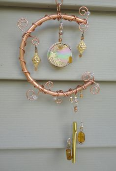 Moon Flower Glass and Copper Windchime Mobile by JewelsInTheGarden