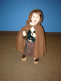 Toddler in a DIY Frodo Lord of the Rings Bilbo Baggins Hobbit Halloween baby costume