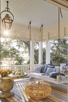 Swing Porch - The 2019 Southern Living Idea House - Beach house decor.Swing Porch - The 2019 Southern Living Idea House - Beach house decor. Love the bedswing from the Original Charleston swing Company, Zuri decking - lo. Beach House Decor, House Design, White Houses, Home Trends, Southern Living, Southern Living Homes, Interior Design, Home Decor, House Interior