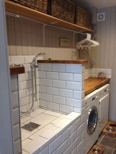 laundry room decor 52 best small laundry room decorating ideas to inspire you 2019 42 Centralche. Mudroom Laundry Room, Laundry Room Design, Laundry Decor, Basement Bathroom, Mudrooms With Laundry, Laundry Room Ideas Garage, Mud Room In Garage, Laundry Room Makeovers, Utility Room Ideas
