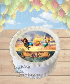 tinkerbell and the pirate fairy edible image frosting sheet round cake topper printed with edible ink 12th Birthday Cake, Animal Birthday Cakes, Happy 7th Birthday, Lego Birthday, Birthday Parties, Disney Princess Birthday Cakes, Pirate Fairy, Round Cakes, Custom Cakes