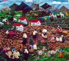 Arpillera Guatemalan Textiles, Peruvian Textiles, Peruvian Art, Bordados E Cia, Activity Days, Applique Quilts, World Cultures, Textile Art, South America