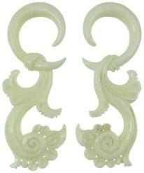 Large Gauge Hanging Bone Floral Hook Earrings