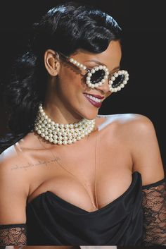 Rihanna in vintage Chanel pearl framed sunglasses at Victoria Secret Fashion Show in New York