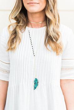 Alexandra Gioia Turquoise Feather Lariat Necklace