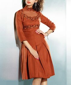 Look at this Chiro's Brown Box-Pleat Pashmina-Blend A-Line Dress on #zulily today!