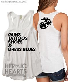 Guns, Tattoos, Shoes & Dress Blues Racerback Tank but for Army