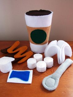 Felt Food Coffee or Hot Chocolate Eco Friendly Pretend Play Food Set for Childrens Toy Kitchen - 11 Piece Play Set. $25.00, via Etsy.