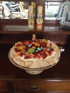 Easter pavlova on a large cake stand - sent in by a fan Pavlova, Easter, Entertaining, Cheese, Fan, Easter Activities, Hand Fan, Funny, Fans