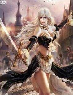 woman in dress with a sword blond