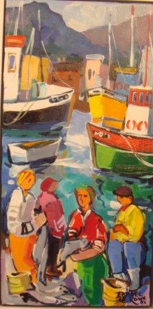 Wamarkshopping | Products Page isabel le Roux South Africa South Africa Art, Nautical Painting, Contemporary African Art, Boat Art, South African Artists, Illustration Art, Illustrations, People Art, Culture Travel