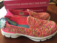 NIB Skechers GO WALK 3 in Crazed HOT PINK Walking Shoes, Skechers, Hot Pink, Lime, Style, Fashion, Zapatos, Swag, Moda