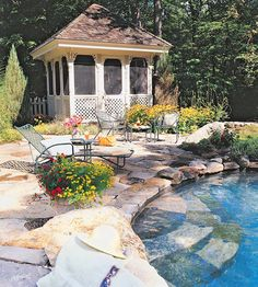Poolside pavilion and lovely patio ..