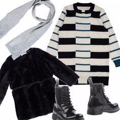 Le bambine sanno bene cosa vogliono indossare, ecco una soluzione super firmata a prezzi ok, il vestito in maglia fantastico e il pellicciotto che farà la felicità delle mini fashioniste, il tutto completato dagli stivaletti 'duri', perfetto no?