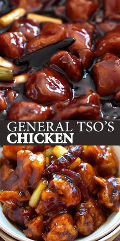 General Tso's Chicken - Deep-fried chicken in a sweet, savory and spicy General Tso's sauce. This recipe tastes like the best Chinese restaurants. Chinese Chicken Recipes, Easy Chinese Recipes, Homemade Chinese Food, Chicken Teriyaki Recipe, Chinese Desserts, Tso Chicken, Fried Chicken, Thai Basil Chicken, Chicken Cake