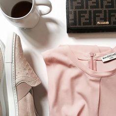 Back to basic.  #mclabels #fashion #pink #ootd #balenciaga #top #silk #sliponsneakers #sneakers lanvin #rosequartz #colortrend #trend #ss16 #summer #paris #fashionhouse #madeinitaly #leather #fendi #wallet #coffee #mug