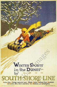 Winter Sports in Dunes vintage South Shore Line poster repro 24x36