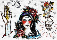 Gypsy girl fortune teller flash sheet #flashsheet #traditionalflash #traditionaltattoo #trflash #oldschool #procreate