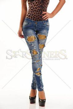 Jeans Ocassion Golden Patch Blue