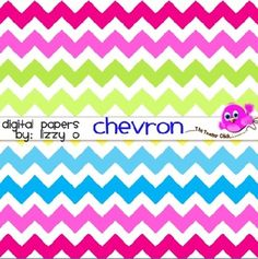 Not just your ordinary chevron! Each paper has a bright palette of chevron stripes to show off your products and designs.  *12 jpeg digital paper files * High quality 300 dpi * commercial or personal use