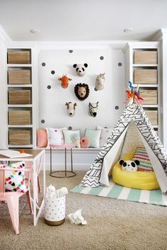 Disguise stored-away junk with stylish storage solutions, like wooden crates, that hide everything from kids' toys to extra throws and office supplies. Click through for more adult-friendly decor ideas for kids' rooms.