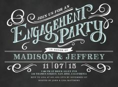 Enchanting Engagement - Signature White Engagement Party Invitations - Elk Design - Black : Front