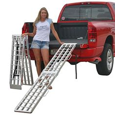 """90"""" Aluminum Folding Loading Ramps for Garden Equipment, Lawn Tractors and ATV Rage Powersports http://www.amazon.com/dp/B004XMN5FI/ref=cm_sw_r_pi_dp_EJNkwb0H2RYHR"""
