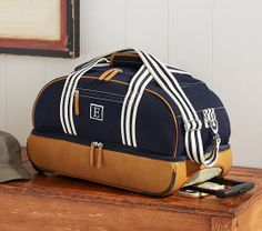 Pottery Barn Kids, Classic Rolling Weekender in Navy, $200 on sale for $100, monogrammable for $7