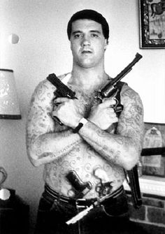 "Obit of the Day: ""Chopper' Mark ""Chopper"" Read was one of Australia's most notorious criminals. A man who claimed to have killed 19 people, and also sold hundreds of thousands of copies of books. Real Gangster, Mafia Gangster, Gangster Party, Gangsters, Famous Murders, Public Enemies, Life Of Crime, Tough Guy, Serial Killers"