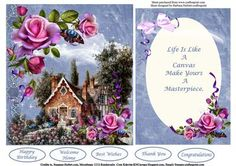 Rose Cottage Quick Easy Card Topper Insert Verse on Craftsuprint - Add To Basket!