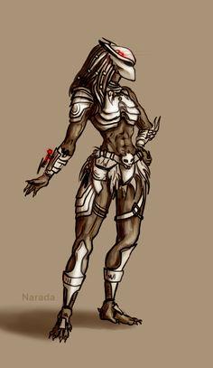 Predator female just a sketch Mythical Creatures Art, Alien Creatures, Magical Creatures, Predator Costume, Predator Cosplay, Hulk Vs Superman, Aliens Colonial Marines, Tribal Warrior, Female Armor