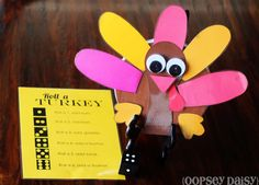 Roll a Turkey game with printable game sheet. #turkey #kids #game