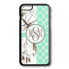 Mint Lattice White Camo Monogram Iphone 6/6S Case Plus 5C 5/5S 4/4S Personalized Quatrefoil Snow Custom Cover