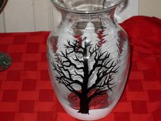 Winter White and Black Trees Glass Vase painted by ArtworkzByCheri, $18.00
