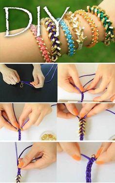 DIY Bracelets diy crafts craft ideas easy crafts diy ideas crafty easy diy diy jewelry diy bracelet craft bracelet jewelry diy, easy, fun, creative (hope you like) Arm Candy Bracelets, Braided Bracelets, Macrame Bracelets, Chain Bracelets, Colorful Bracelets, Jewelry Bracelets, Jewelry Crafts, Handmade Jewelry, Bracelets Crafts