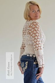 Done with the cardigan! Cotton thread #10, hook 2 mm. All charts are for size medium (American - 12, for breast 92 cm).               ...