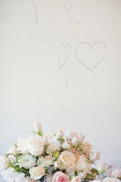 Read more for a Valentine's wedding ideas, romantic pink blush wedding colors palette. pink blush wedding ideas,wire heart mobile for a Valentine's Day table Blush Wedding Colors, Blush Pink Weddings, Wedding Flowers, My Funny Valentine, Valentines Day Party, Bridal Shower Decorations, Valentine Decorations, Wedding Decorations, Diy Wedding