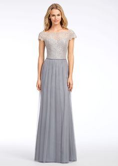 Hayley Paige Occasions Fall 2016 Style 5655 -   Pewter English net A-line bridesmaid gown, Silver metallic lace bateau bodice, cap sleeve, natural waist with gathered skirt