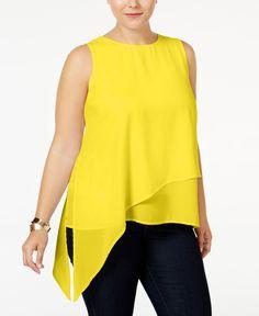 Monteau Trendy Plus Size Asymmetrical Layered Top - Bl Trendy Plus Size, Plus Size Tops, Asymmetrical Tops, Layered Tops, Plus Size Blouses, Cut And Style, Plus Size Outfits, Black Tops, Tunic Tops