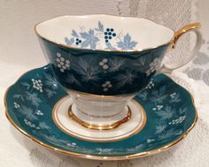 ROYAL ALBERT Fine Bone China Tea Cup & Saucer - NANCY - Chateau Series by CupsAndRoses on Etsy