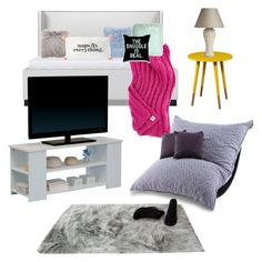 """""""KC Linden and Kylie Johnson- room"""" by maggiemarin ❤ liked on Polyvore featuring interior, interiors, interior design, home, home decor, interior decorating, Amara, Pillow Decor, Southern Enterprises and Amira"""
