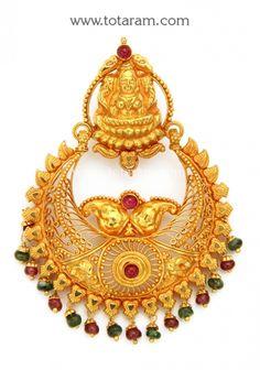 22k Gold Lakshmi Chand Bali Pendant Temple Jewellery Totaram Jewelers Indian Jewelry 18k Diamond