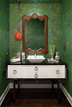 Powder Room by Pal + Smith | jungle wallpaper | eclectic decor | ideas for small rooms | home decor tips | red pendant light | black and white vanity