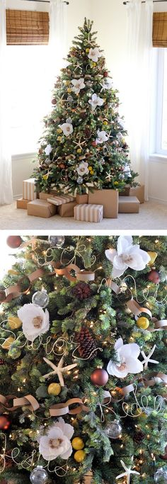 People Decorating For Christmas people are decorating their christmas trees with flowers and the