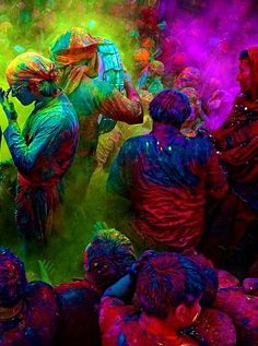 #Holi - A hindu festival celebrated in India in March to celebrate the triumph over evil from the hindu story of the salvation of the hindu god Prahlada and the destruction of the evil god Holika. It is celebrated by throwing brightly coloured chalk at each other as a symbol of joy.