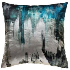 The Lapis Aqua Pillow features a graphic blue and aqua print with silver embroidery on velvet. Modern Decorative Pillows, Modern Pillows, Leather Dining Room Chairs, Pillow Room, Beauty Salon Interior, Cat Room, Small Pillows, Cat Accessories, High Fashion Home