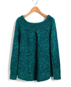 Blue Chunky Knit Sweater with Dip Hem and Wide Neckline