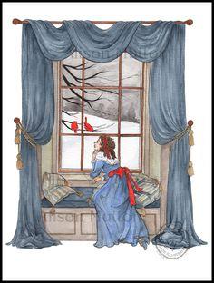 At The Window (watercolour) by Alison Mutton | www-alene-art.com
