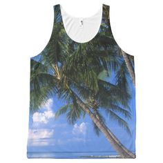 Beautiful Key West Blue Tropical Beach Palm Tree All-Over Print Tank Top Tank Tops