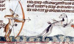 Por una vez (y sin que sirva de precedente), son las liebres salen a capturar a los perros ¡A por ellos! British Library's MS royal 10 E IV